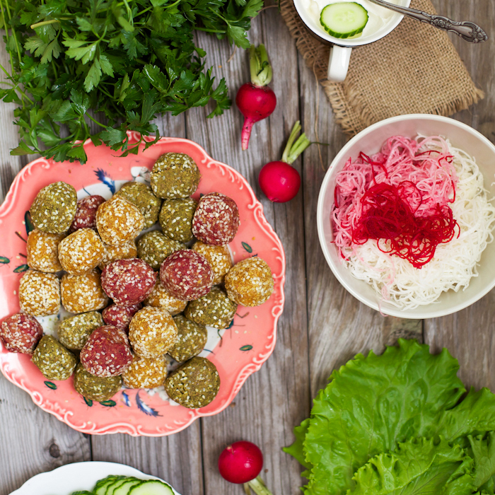 Rainbow Falafel with Pickled Turnips