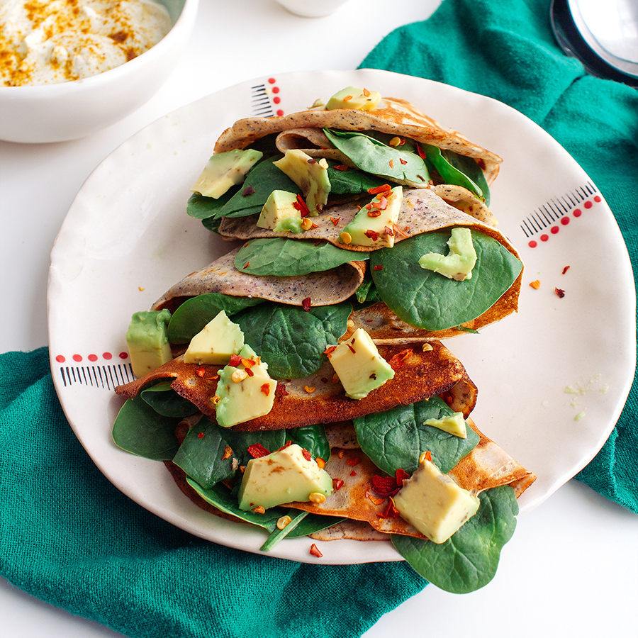 Spinach-and-Avocado-Stuffed Cornmeal Crêpes with Curry-Lime Cream