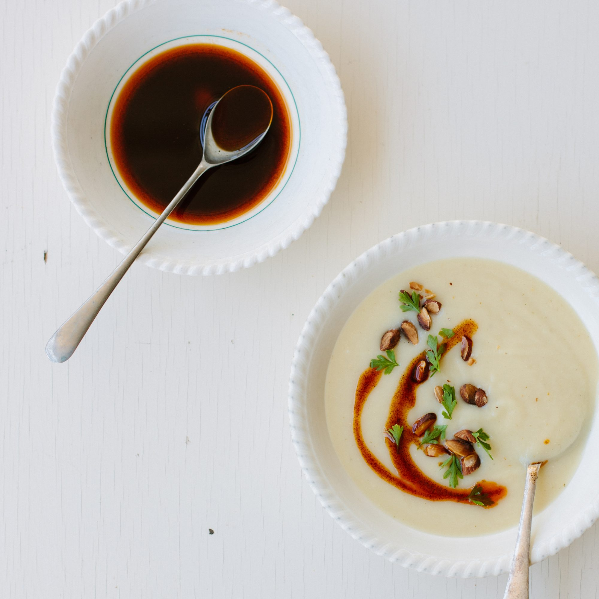 Creamy Parsnip Soup with Smoked Paprika Oil and Toasted Almonds