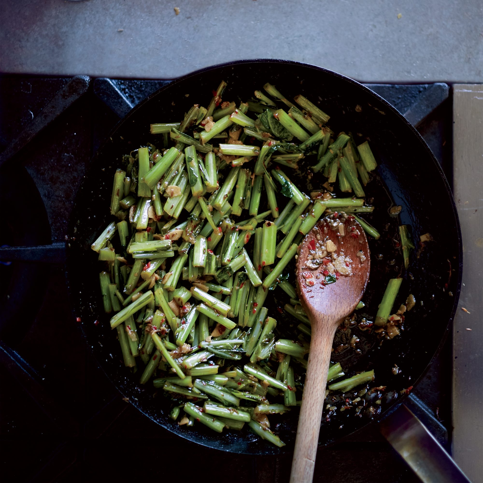 Cumin-and-Chile-Braised Collard Green Stems