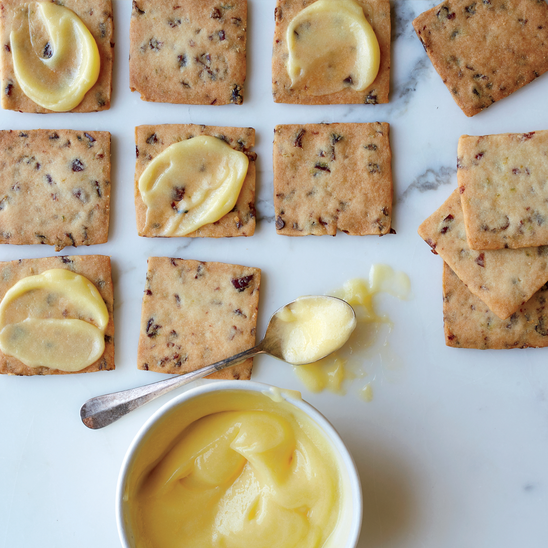 Cranberry-Lime Shortbread Cookies with Lime Curd