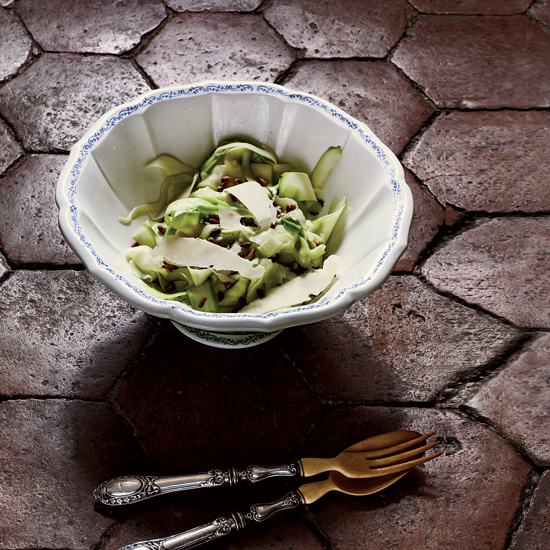 Shaved Zucchini Salad with Parmigiano and Pistachios