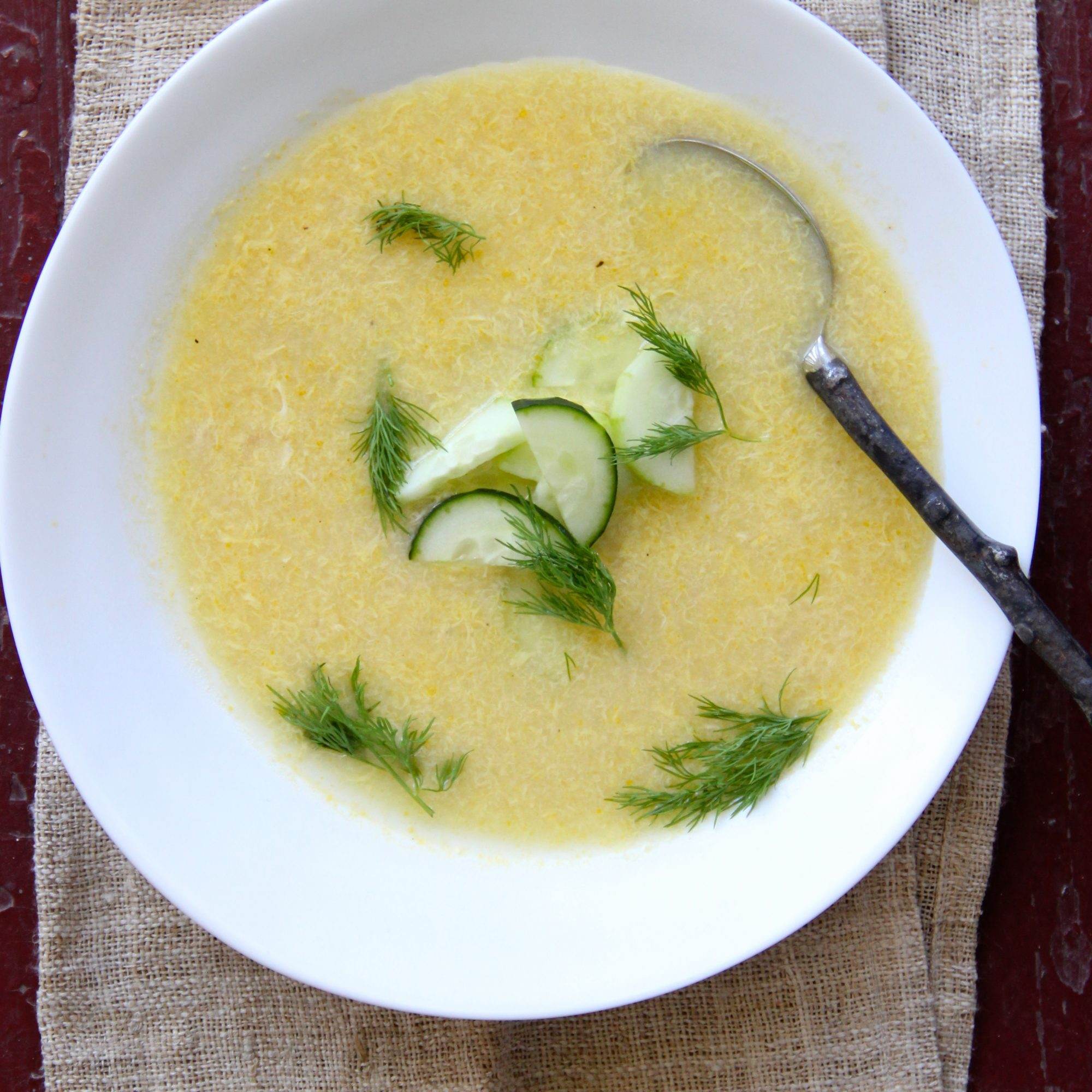 Egg Drop Soup with Cucumber Dill Salad