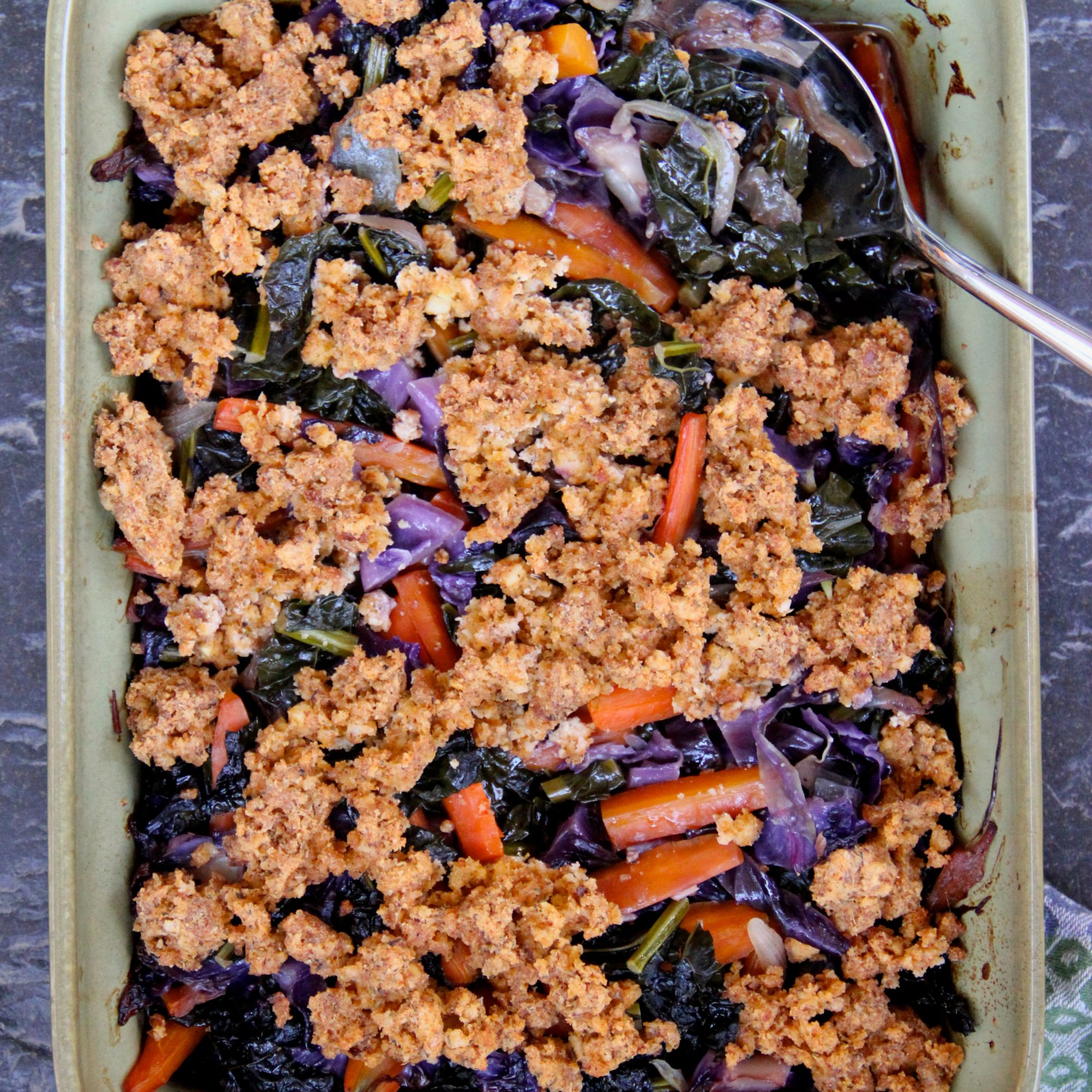 Winter Veggie Casserole with Tofu Crumble