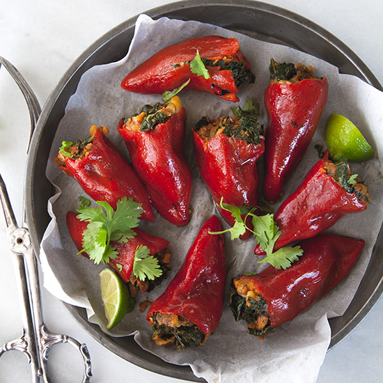 Kale and Chorizo-Stuffed Piquillo Peppers