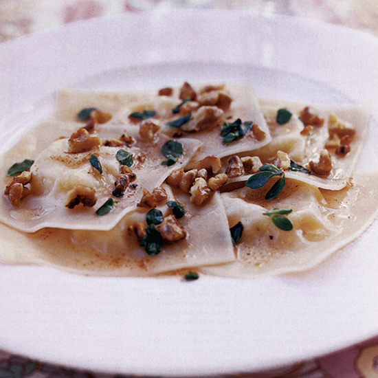 Pecorino Ravioli with Walnuts and Marjoram