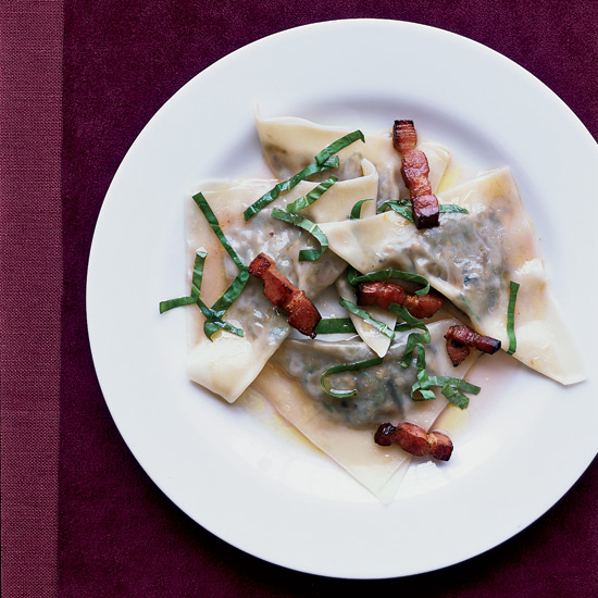 Eggplant Ravioli with Gewürztraminer and Bacon