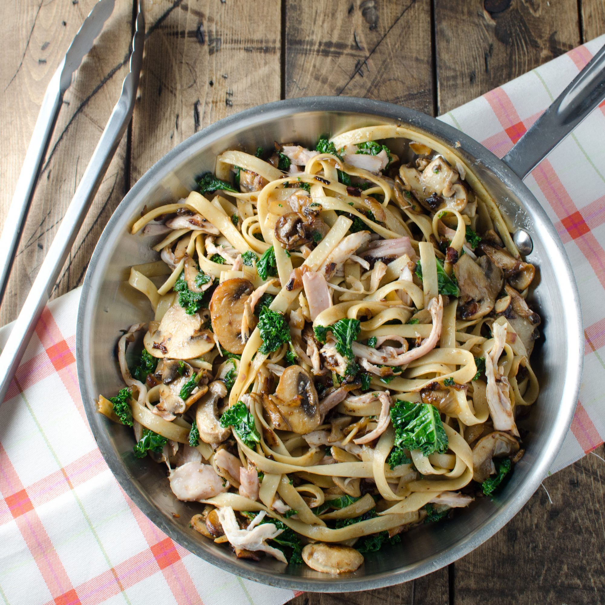 Creamy Chicken Fettuccine with Mushrooms and Kale