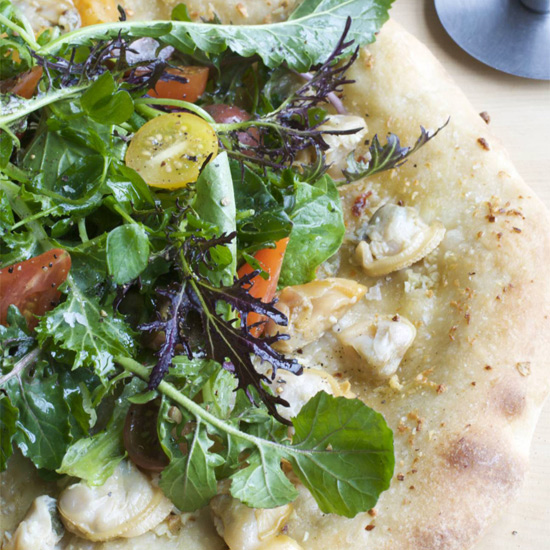 Clam Pizza with Salad Topping