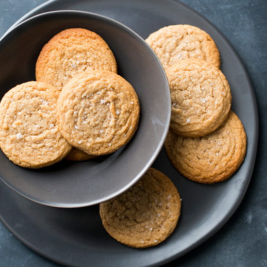 Soft Chewy Peanut Butter Cookies with Sea Salt