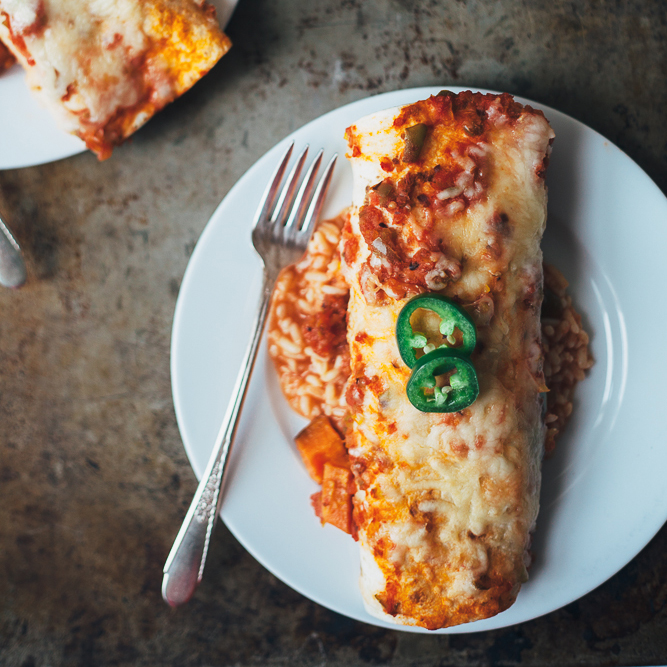 Vegetarian Breakfast Enchiladas with Eggs and Sweet Potatoes