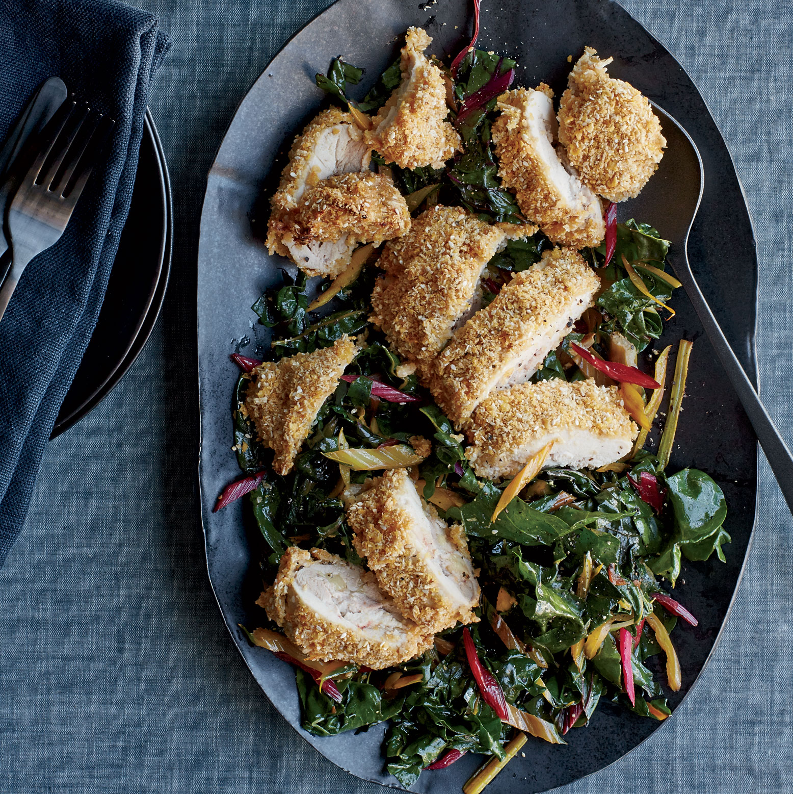 Crispy Chicken Cutlets with Swiss Chard