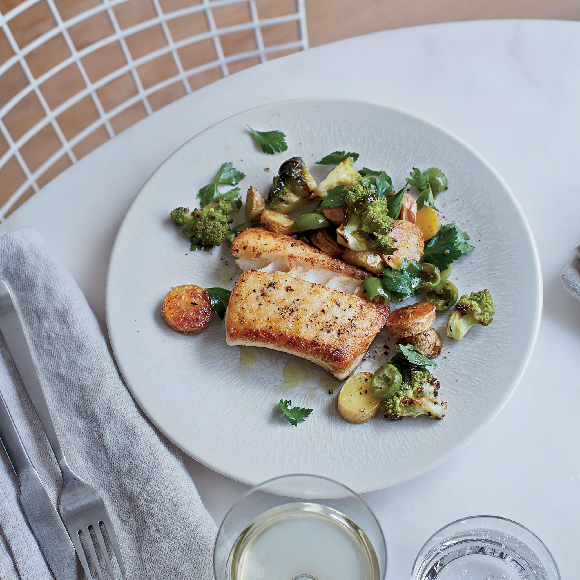 Halibut with Steaks with Green Bean Chimichurri