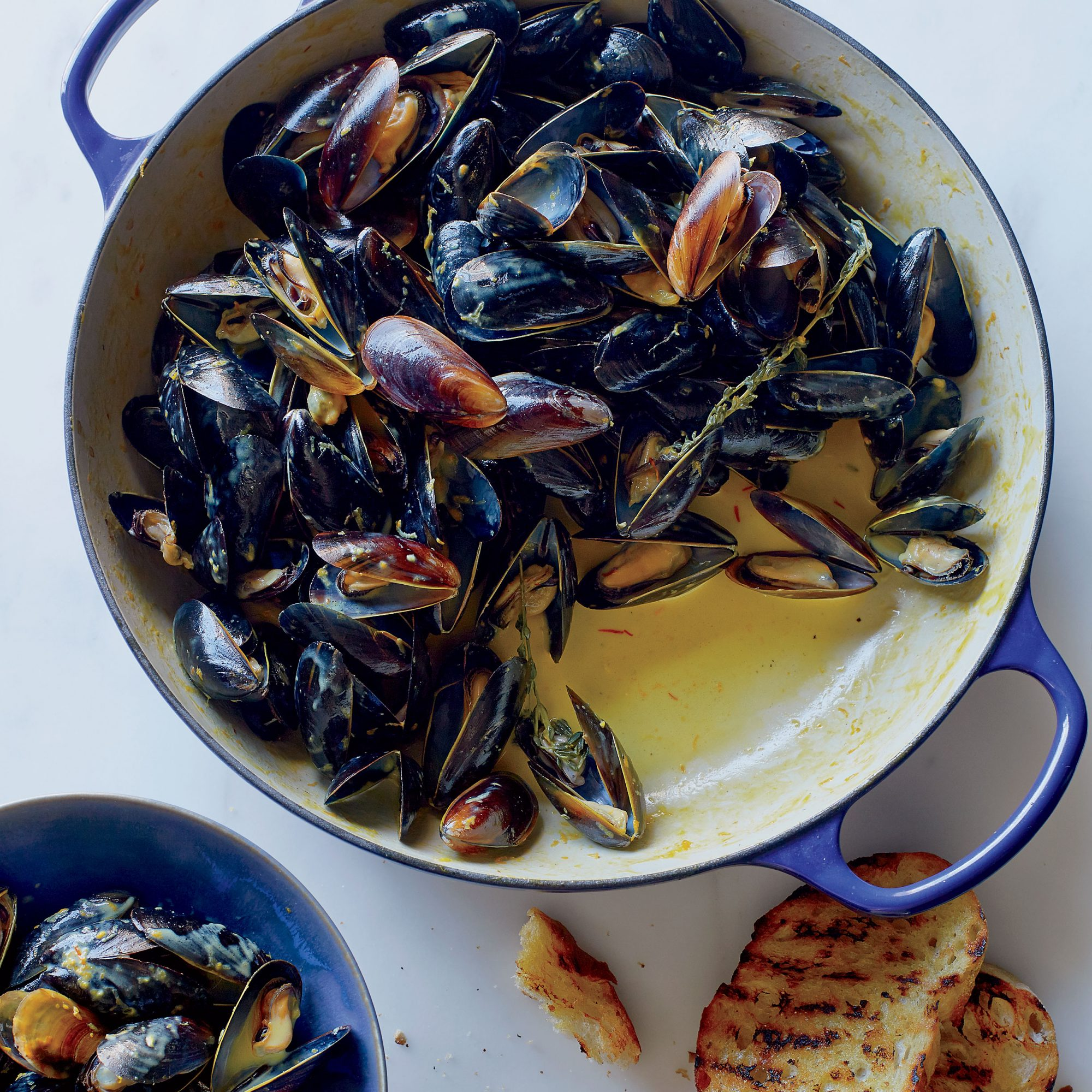 Mussels in a Saffron Citrus Cream Sauce