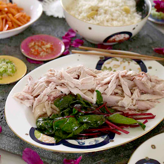 Hainan Chicken with Rice and Two Sauces