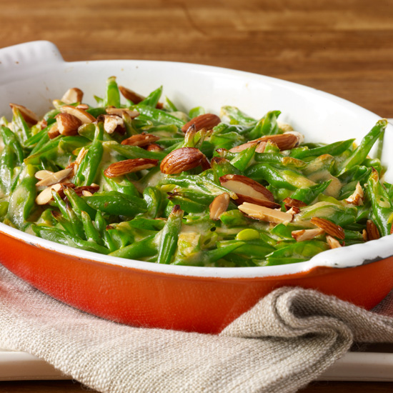 Green Bean Casserole with Goat Cheese, Almonds and Paprika
