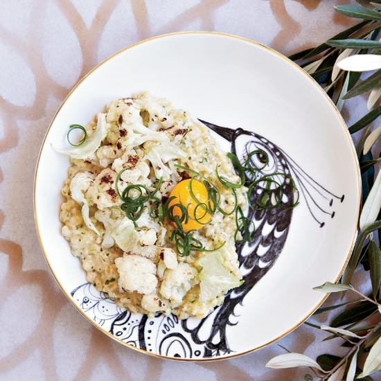 Toasted Farro and Scallions with Cauliflower and Eggs