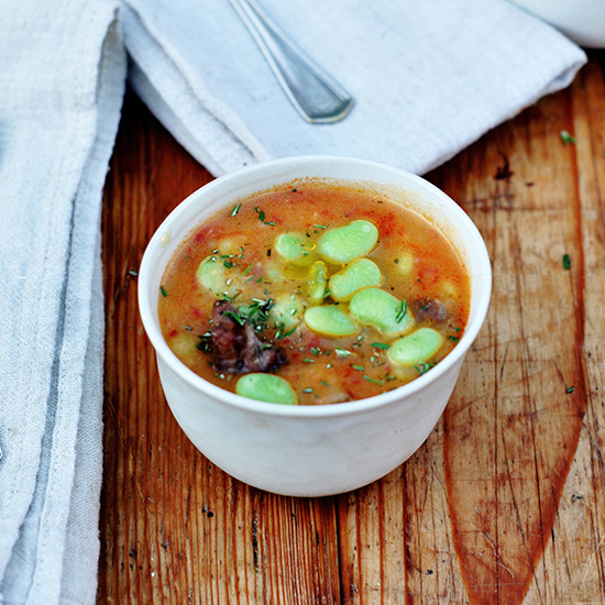 Creamy Potato Soup with Lamb and Lima Beans