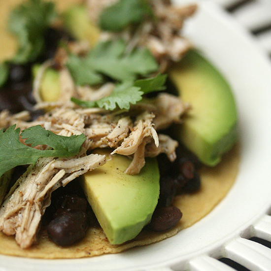 Pulled Chicken Tacos with Spicy Black Beans