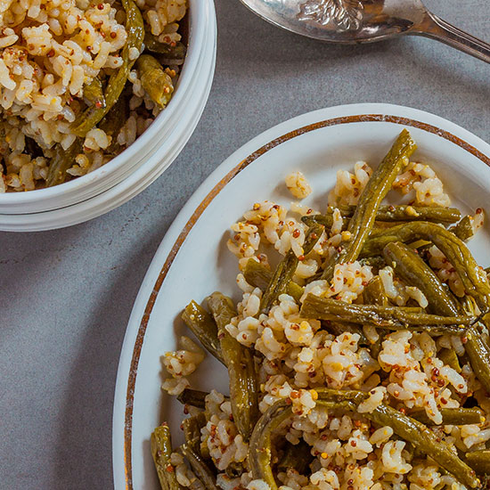 Brown Rice Salad with Roasted Green Beans and Mustard Vinaigrette