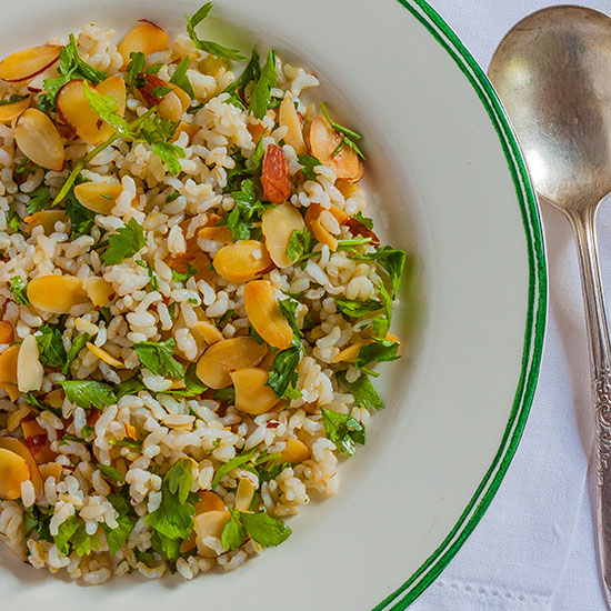 Brown Rice Pilaf with Toasted Almonds and Parsley