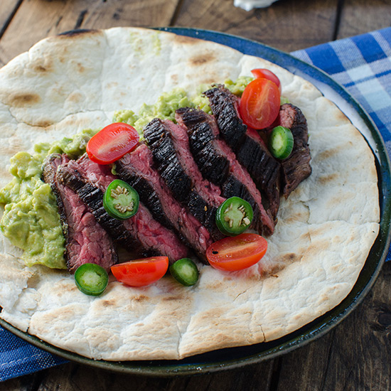 Flank Steak Burrito with Guacamole and Salsa