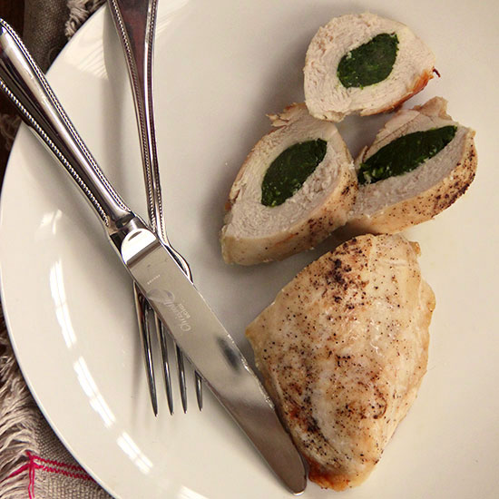 Garlicky Spinach Stuffed Chicken Breasts