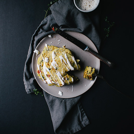 Savory Pancakes with Roasted Garlic Whip