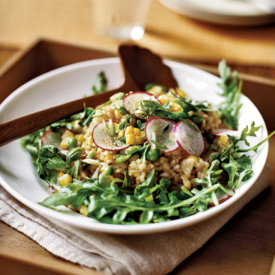 Herbed Brown Rice Salad with Corn, Fava Beans and Peas