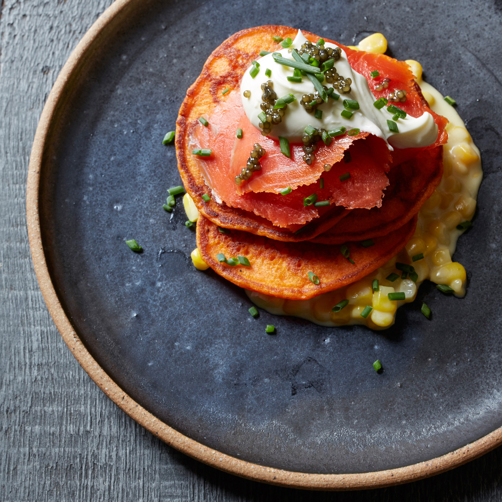Red Pepper Blini with Creamed Corn and Smoked Salmon