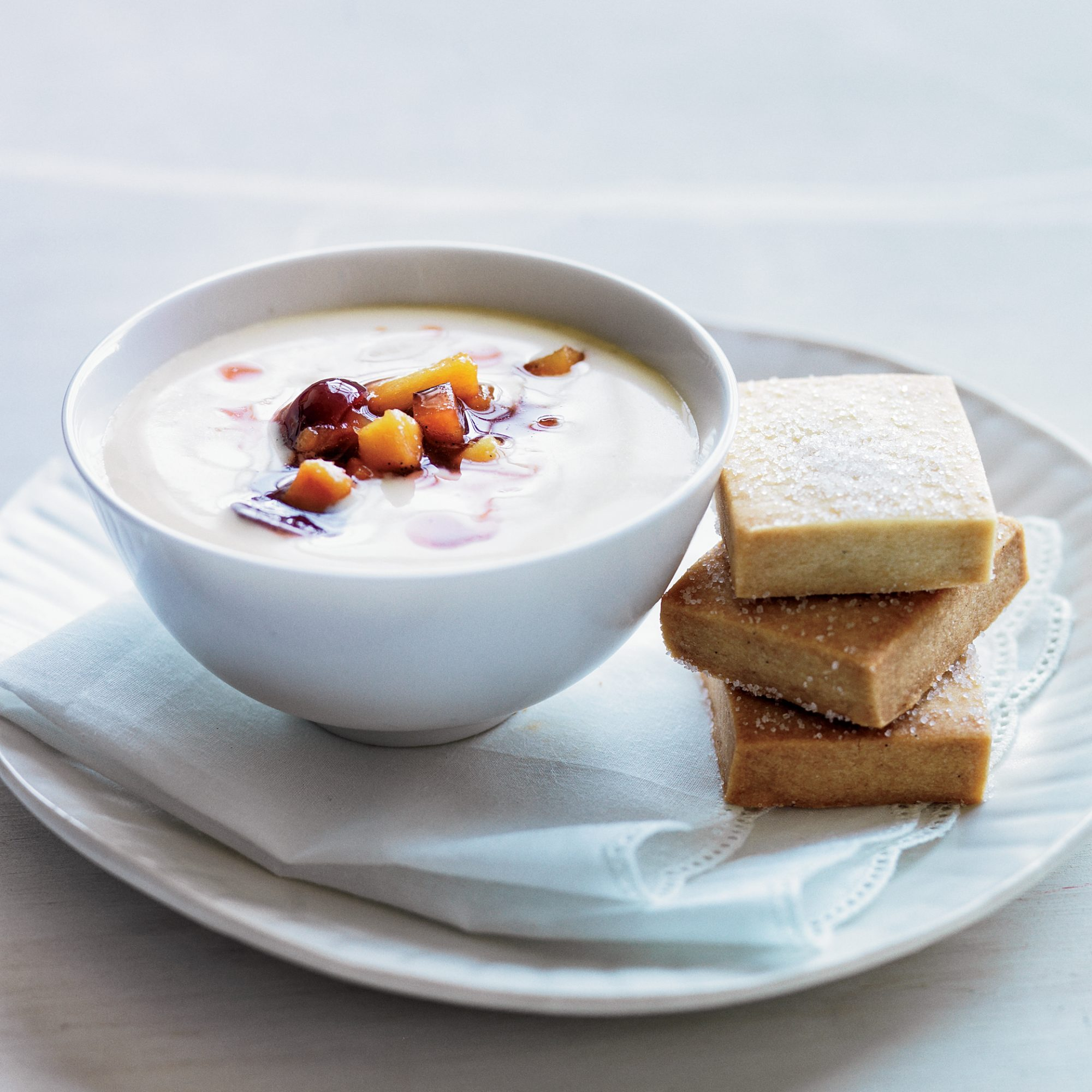 Vanilla Pudding with Macerated Stone Fruits & Shortbread