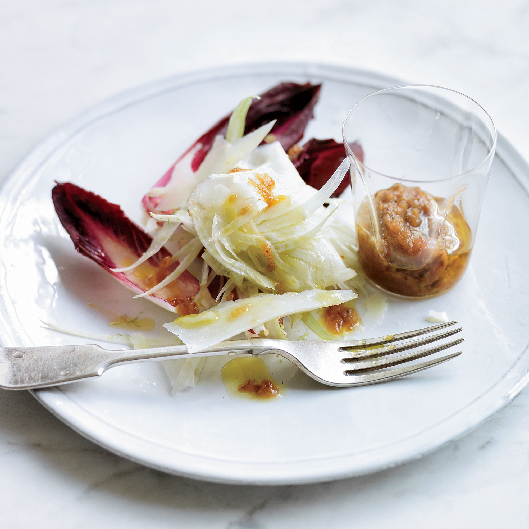 Red Endive & Fennel Salad with Anchovy-Date Dressing