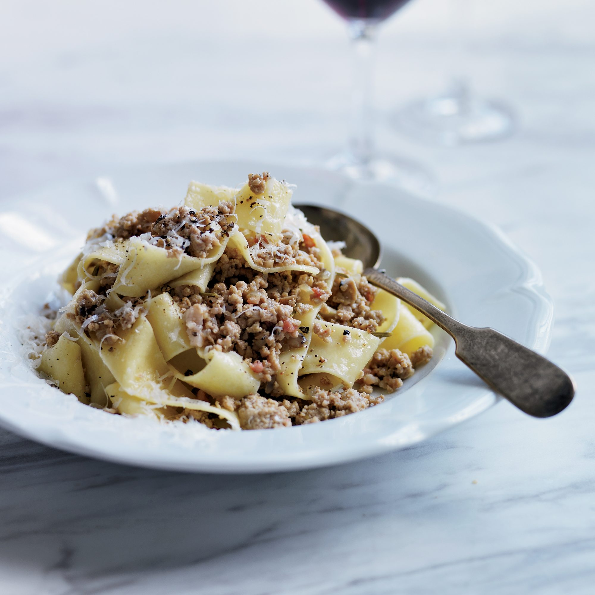 Pappardelle with White Bolognese Recipe - Andrew ...