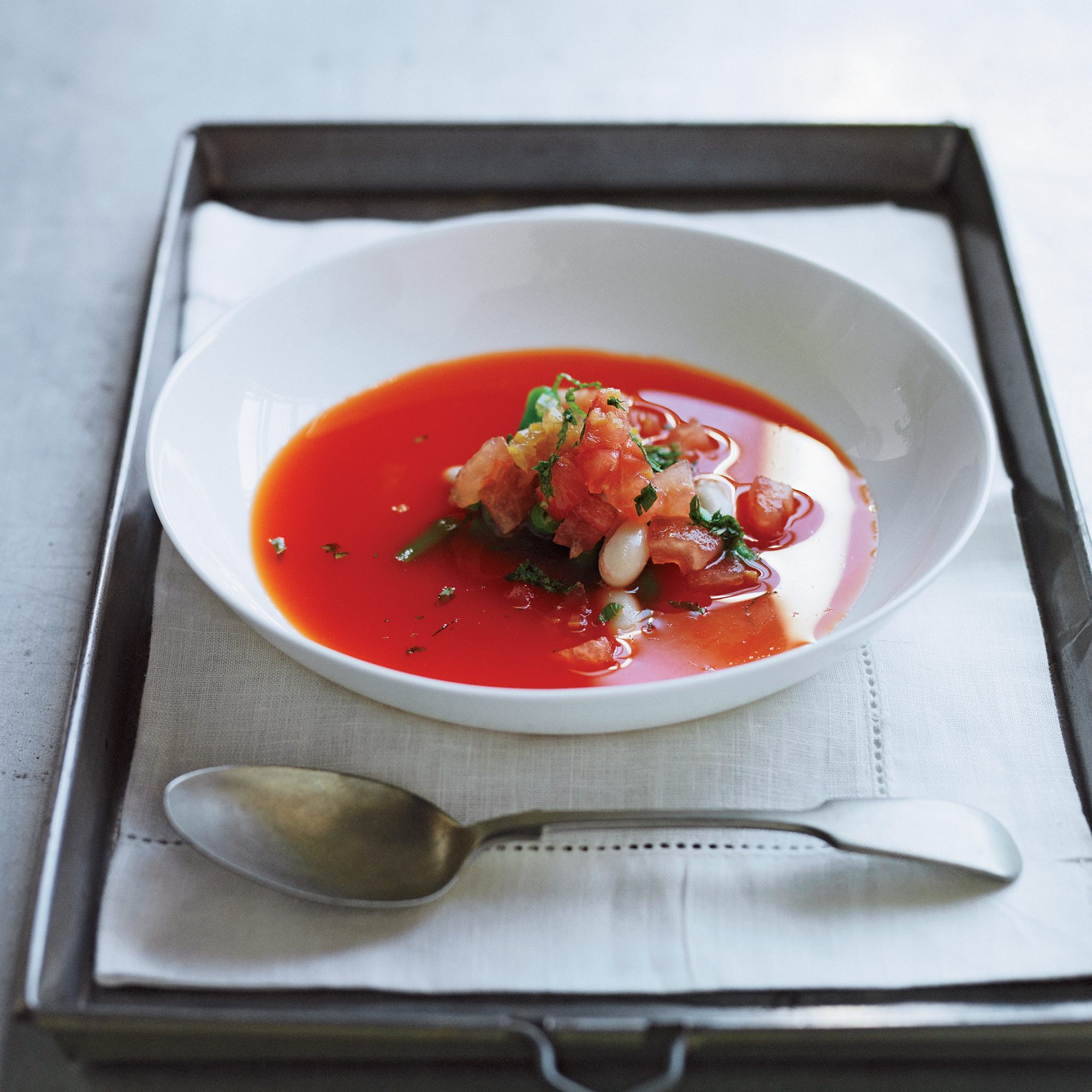 Chilled Piquillo Pepper Soup with Fresh Bean Salad