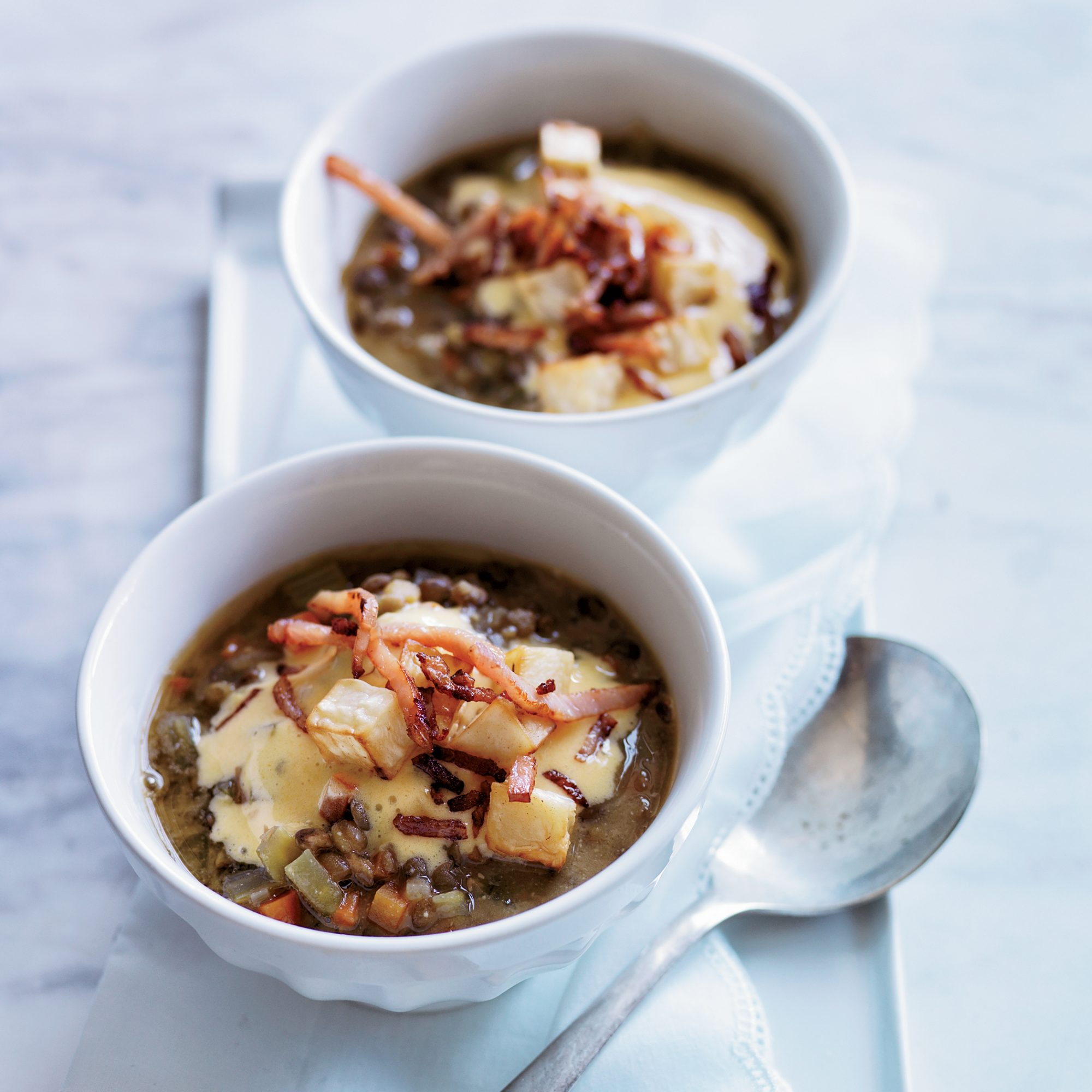 Lentil Miso Soup with Bacon Sabayon