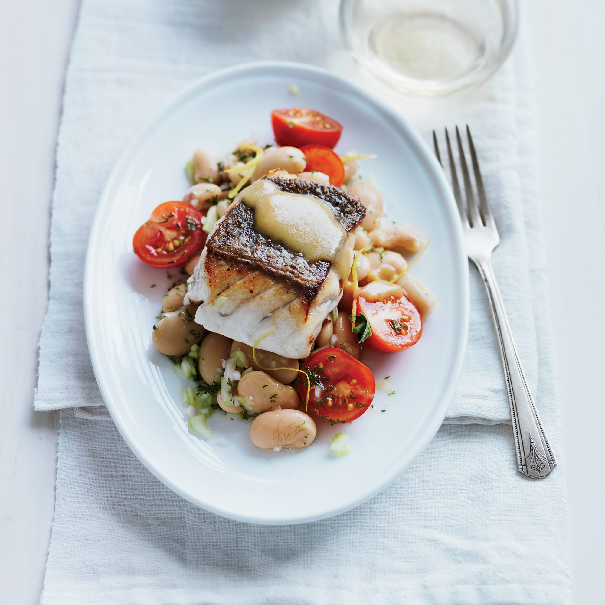 Pan-Roasted Grouper with Tomato & Butter Bean Salad