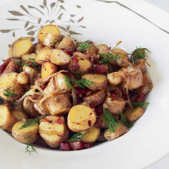 Pan-Roasted Fingerling Potatoes with Pancetta