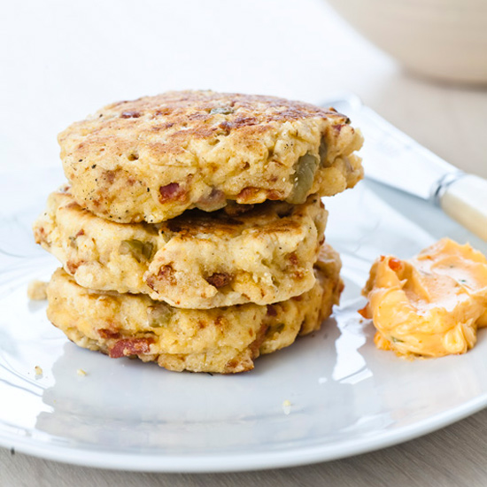 Olive Griddle Cakes with Chile Butter