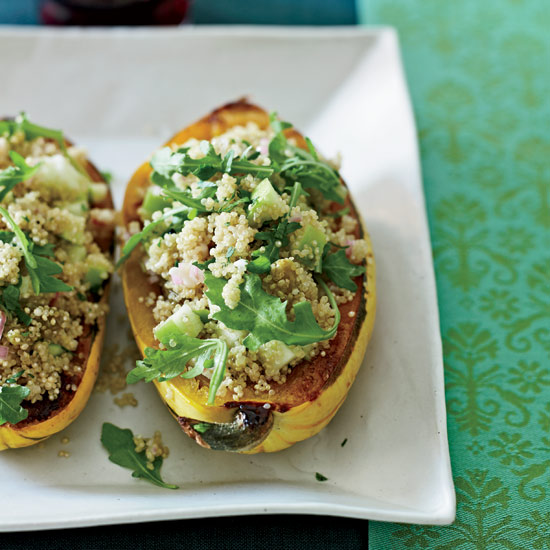 Healthy Roasted Delicata Squash with Quinoa Salad Recipe for Thanksgiving