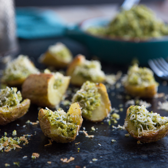 Potato Skins with Broccoli Pesto