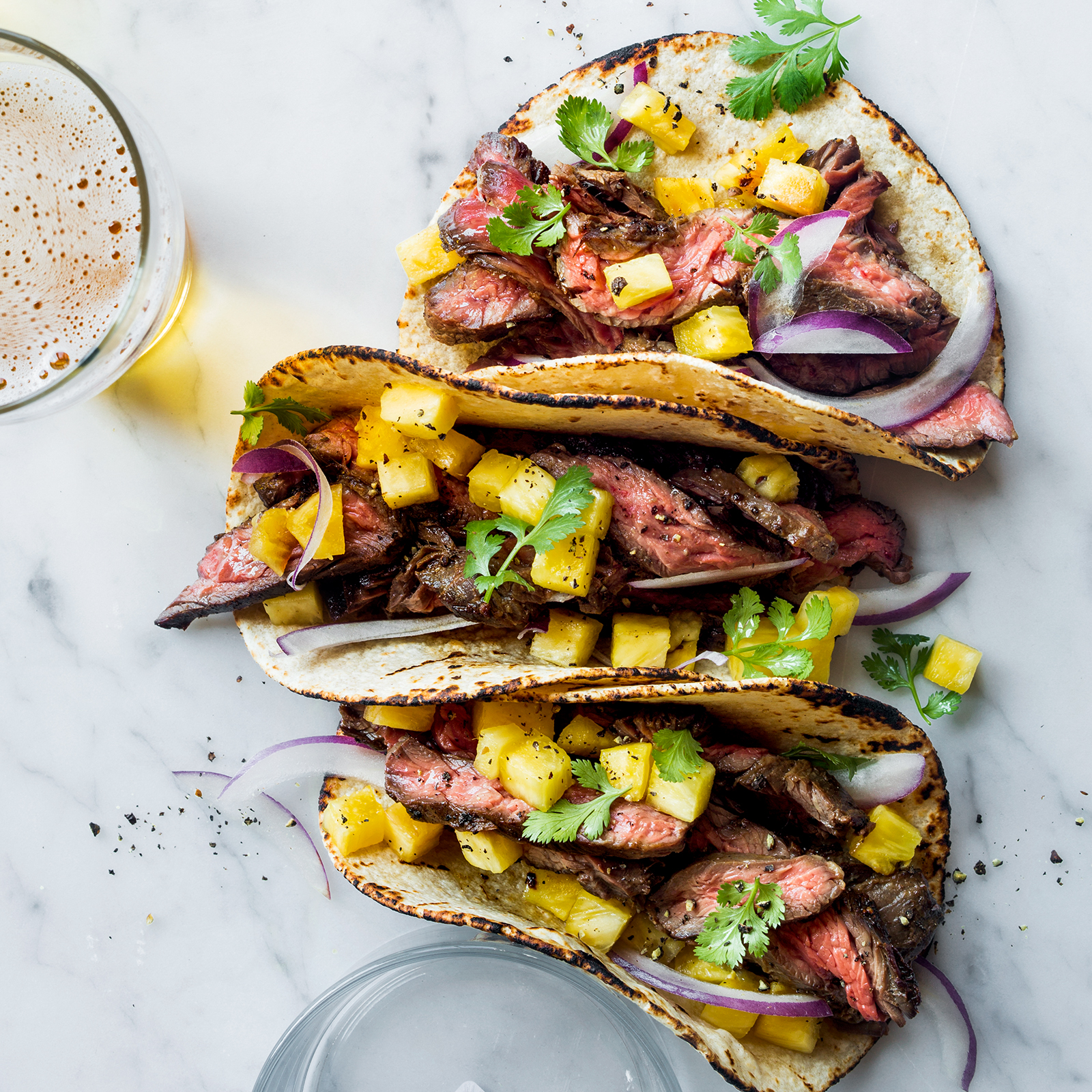 Steak tacos with pineapple recipe justin chapple food wine for The best fish taco recipe in the world