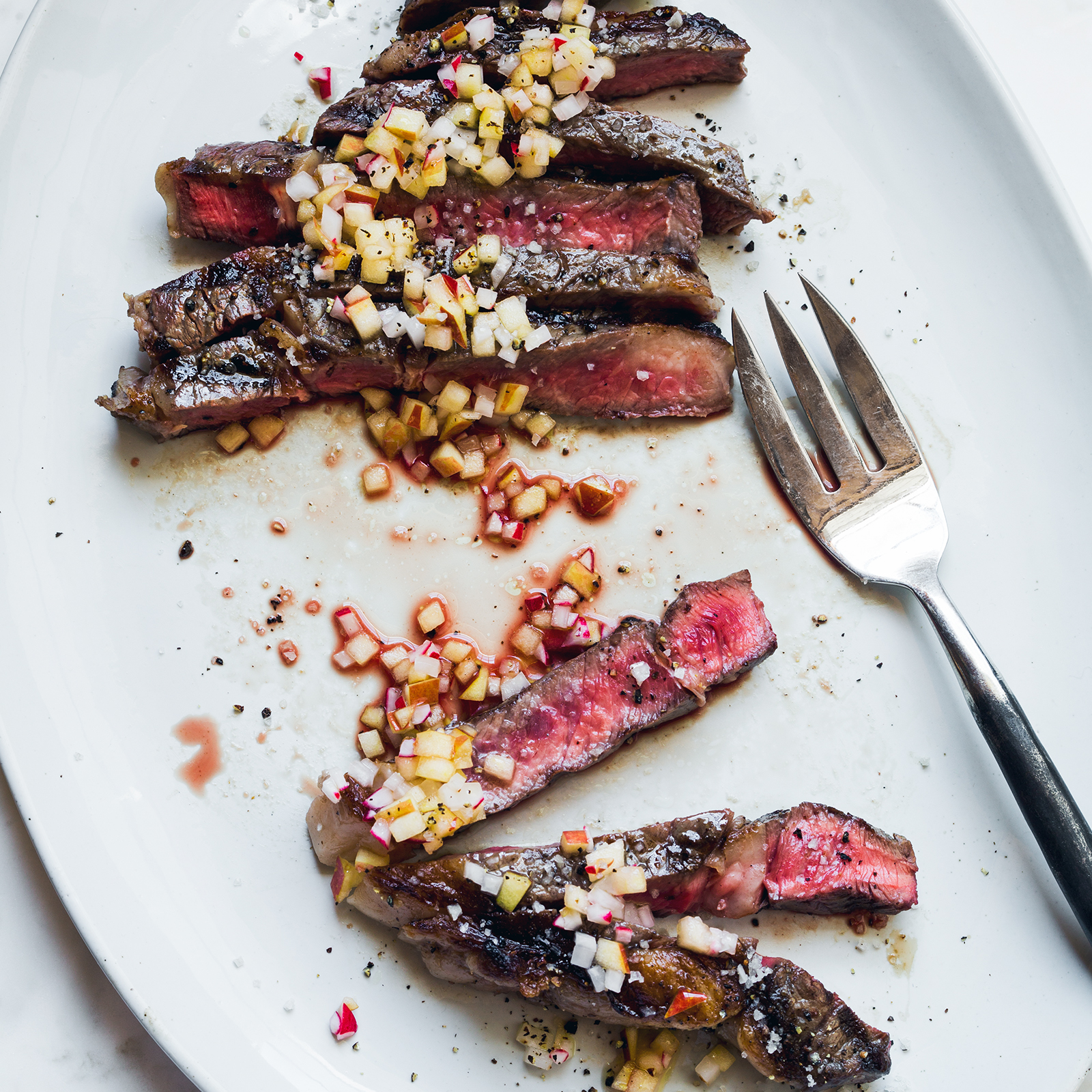 Grilled Rib Eye Steaks with Apple-Radish Vinaigrette