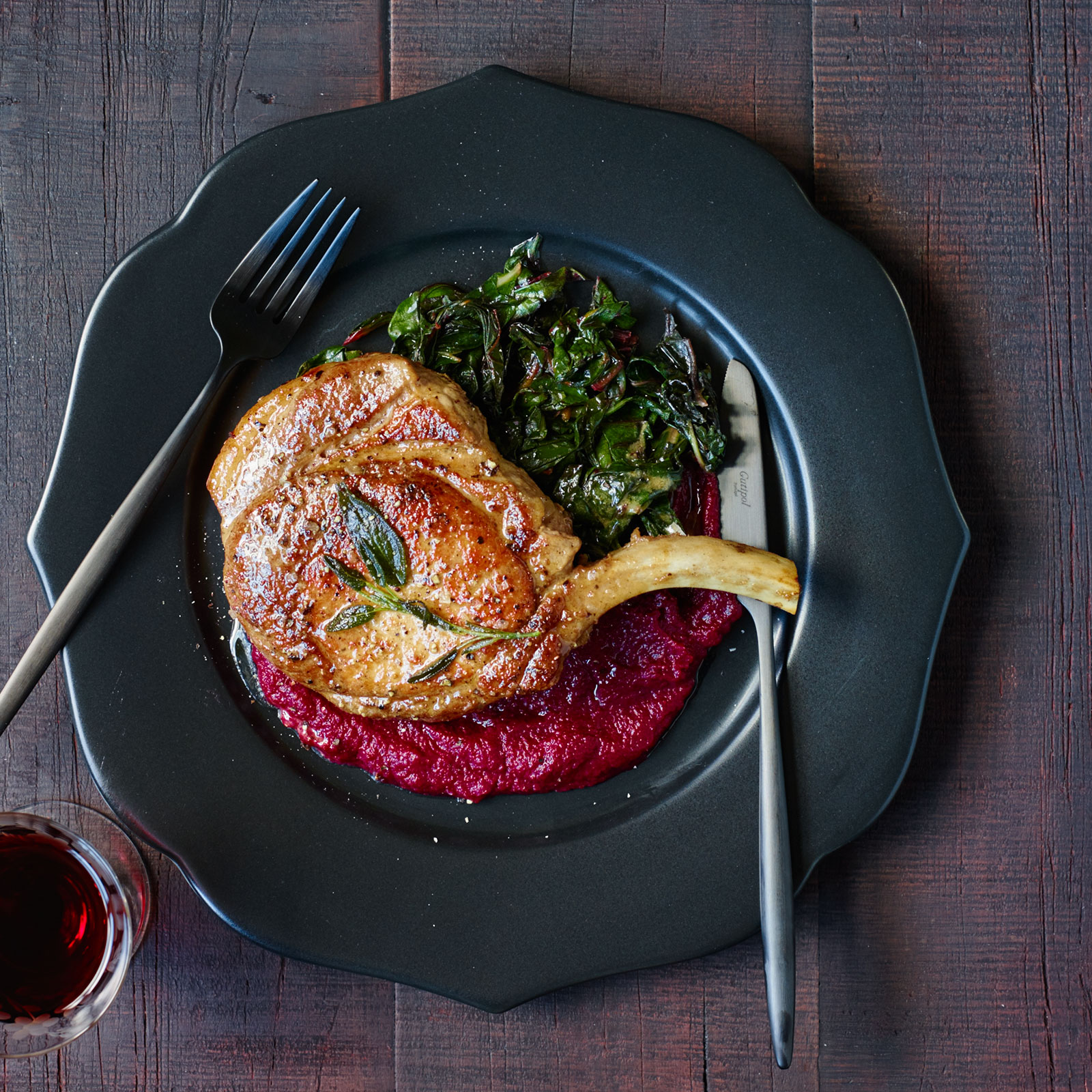 Pork Chops in Sage Butter with Beet Puree and Swiss Chard