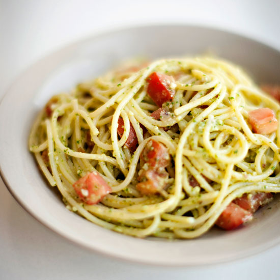 Spaghetti with Parsley Almond Pesto