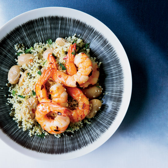 Chile Shrimp with Butter Beans and Lemony Couscous