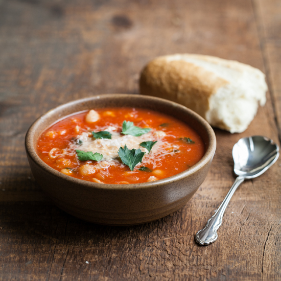Tomato Soup with Chickpeas and Ditalini