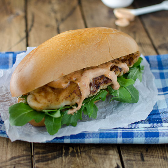 Tilapia Po'Boy Sandwich with Chipotle Aioli
