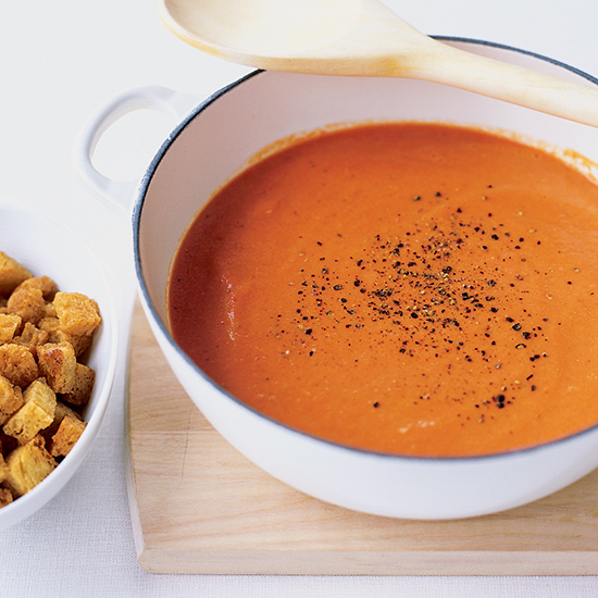 Creamy Tomato Soup with Buttery Croutons
