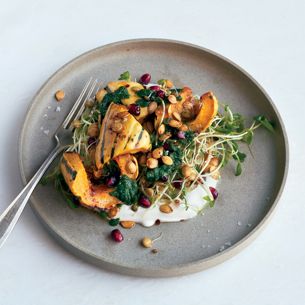 Roasted Squash and Mixed Sprouts Bowl
