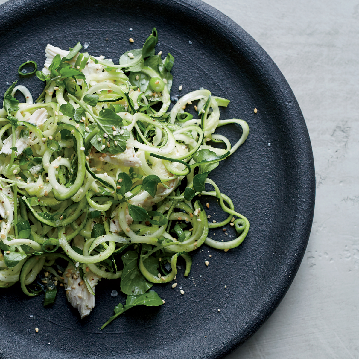 Zucchini Noodles with Chicken and Ginger Dressing